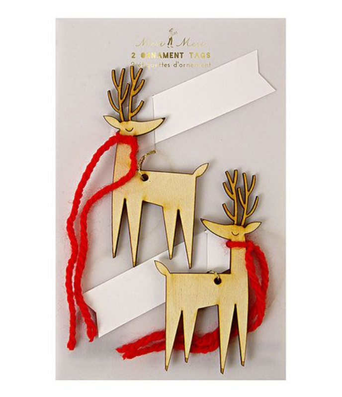 Meri Meri Gift Tags Wooden Reindeer Pack of 2