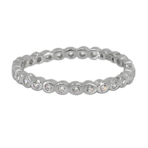 Stacking Sterling Silver Ring with Rhodium and Cubic Zirconia