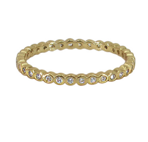 Stacking Sterling Silver Ring with Gold Plating and Cubic Zirconia