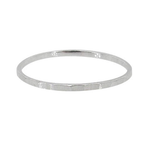 Stacking Sterling Silver Diamond Cut Finish Band Ring 1mm