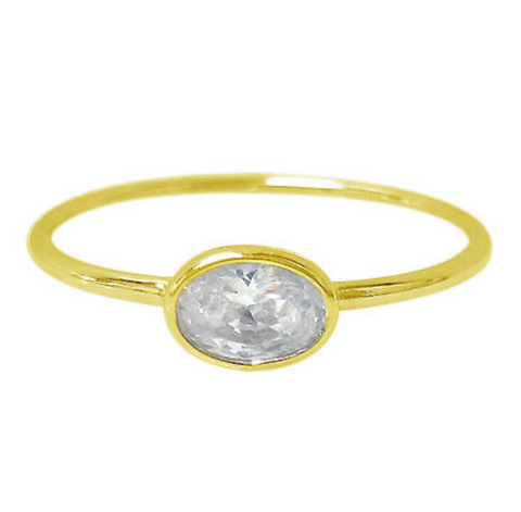 Stacking Sterling Silver Ring with Gold Plating and 4mm. Round Cubic Zirconia