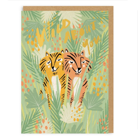 Ohh Deer Valentines Wild About You Tigers Greeting Card