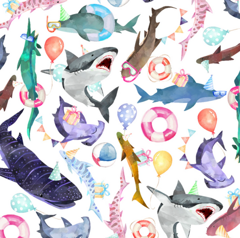 Gift Wrap Roll Shark Party