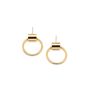 Lover's Tempo Earrings Swing Hoop Small - Gold