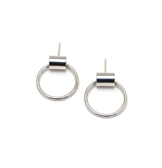 Lover's Tempo Earrings Swing Hoop Small - Silver