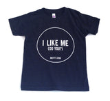 Mefits Youth T-Shirt, Charcoal 'I Like Me'.