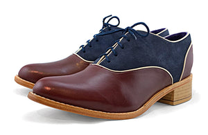 Women's Veneto Piped Oxford Burgundy & Navy