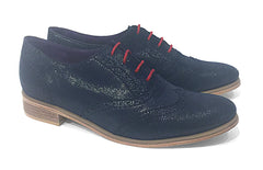 Women's Veneto Wingtip Brogue Blue Sparkle