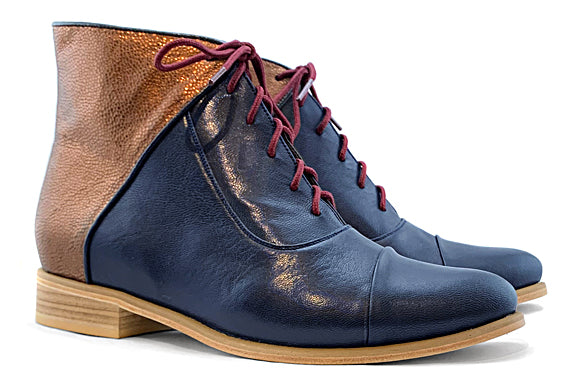 Women's Veneto Ankle Boot Blue and Copper