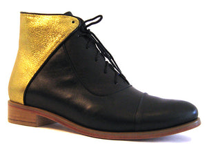 Women's Veneto Ankle Boot Black and Gold