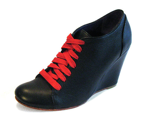 Women's Wedge Lace-Up Black
