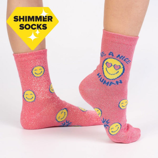 Sock It To Me - Junior Socks Shimmer Be A Nice Human