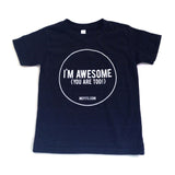 Mefits Youth T-Shirt, Charcoal 'I'm Awesome'.