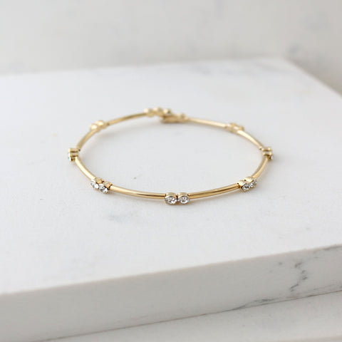 Lover's Tempo Bracelet Gemini Crystal Bangle - Gold