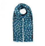 Fraas Scarf Blue Polka Dot with Grey Trim