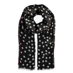 Fraas Scarf Black Polka Dot with Burgundy Trim