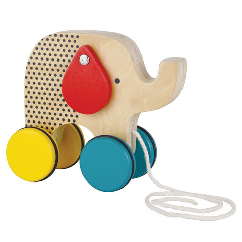 Petit Collage - Wooden Pull Toy Jumbo Jumping Elephant