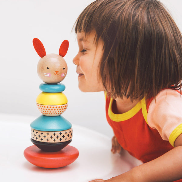 Petit Collage - Wooden Rabbit Stacker Toy