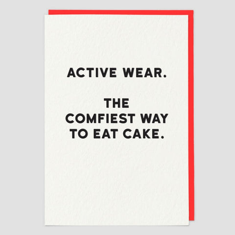 Red Back Card - Active Wear. The Comfiest Way To Eat Cake.