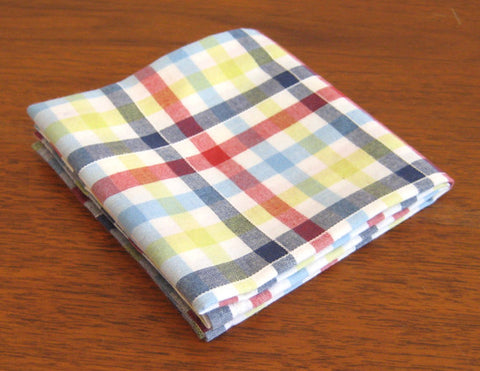 Accessories - Pocket Square - Red, Blue, Yellow Plaid