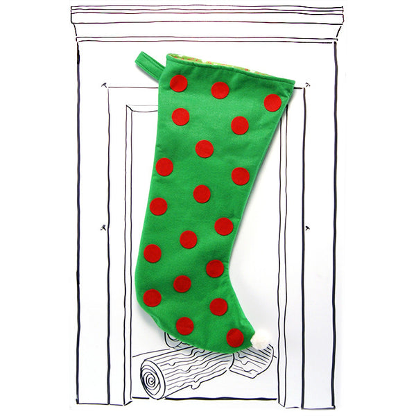 Polka Dot Stocking - Green with Red Polka Dots