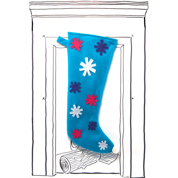 Snowflake Stocking - Turquoise with Multi Color Snowflakes