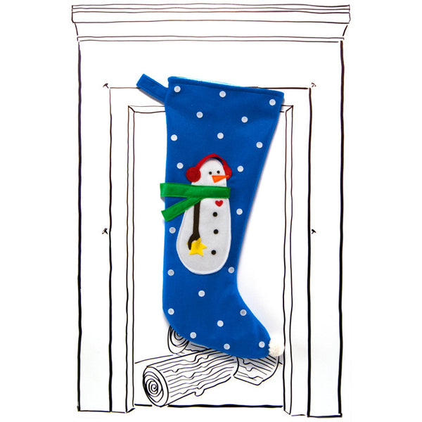 Snowman Stocking - Electric Blue with Polka Dots