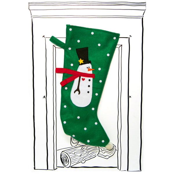 Snowman Stocking - Green with Polka Dots