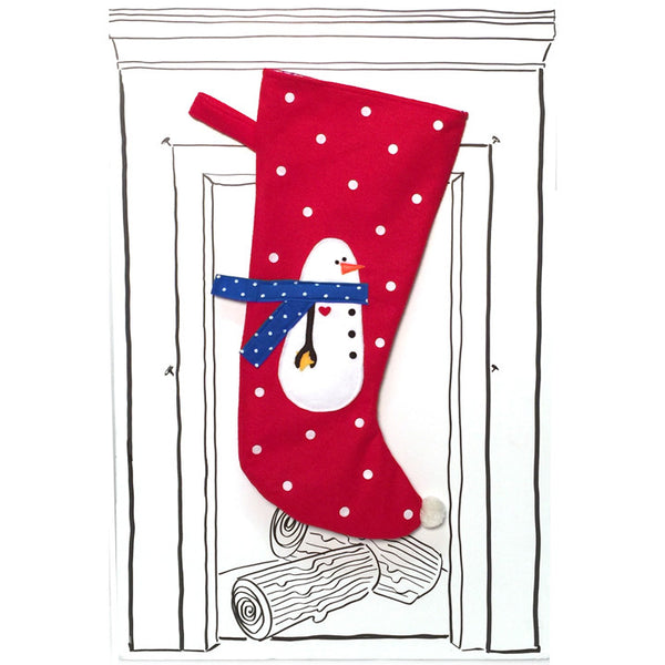 Snowman Stocking - Red with Polka Dots