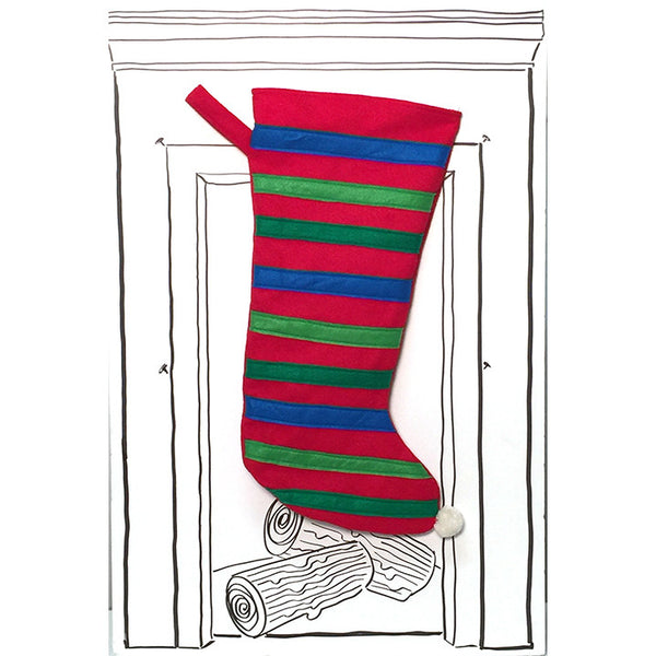Stripe Stocking - Red with Multi Color Stripes