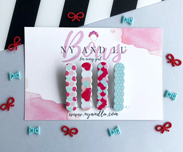 Clip Set || Scallop Pink and Mint