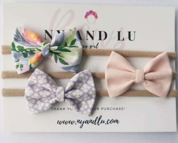 "Petite Classic Purple Pink Pastel 2.5"" bow Set"