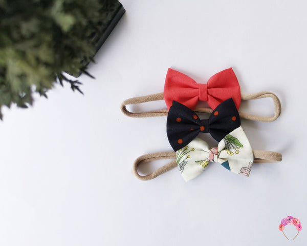 "Petite Classic Peach, Navy and Flora 2.5"" bow Set"