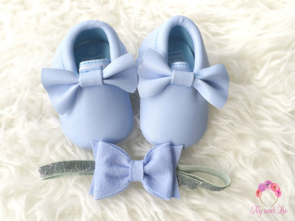 Sky Blue Bow Mocc 0-6Mths