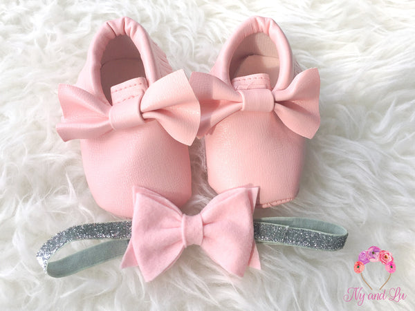 Light Pink Bow Mocc