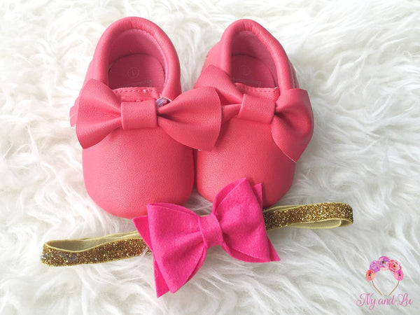 Hot Pink Bow Mocc