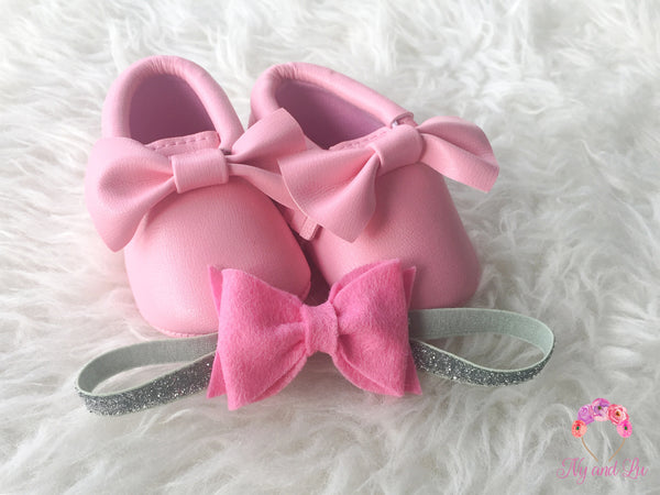 Pink Bow Mocc