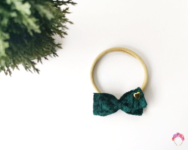 Velvet Double Bow - Emerald
