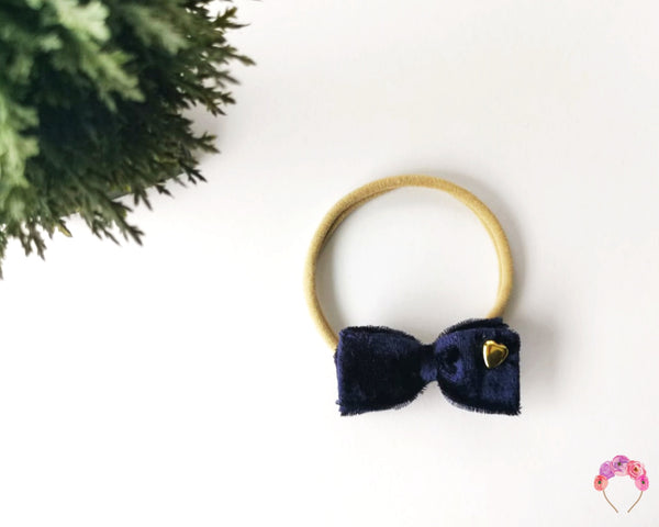 Velvet Double Bow - Navy