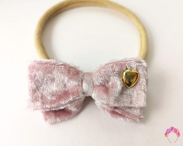 Velvet Double Bow - Mauve