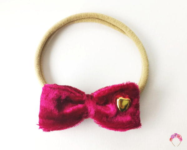 Velvet Double Bow - Ruby