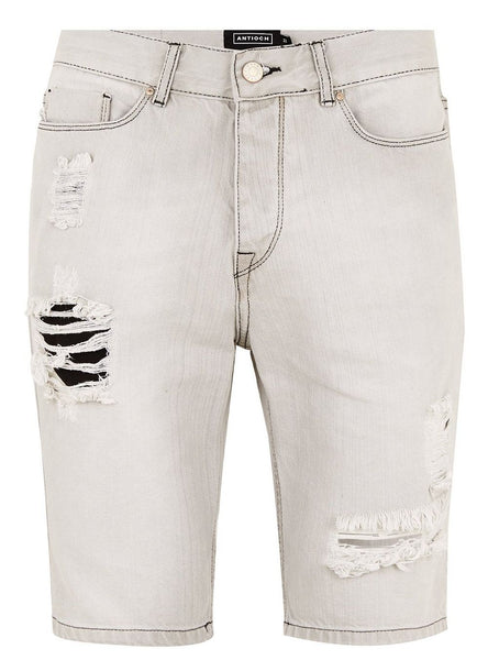 ANTIOCH RIPPED GREY DENIM SHORT