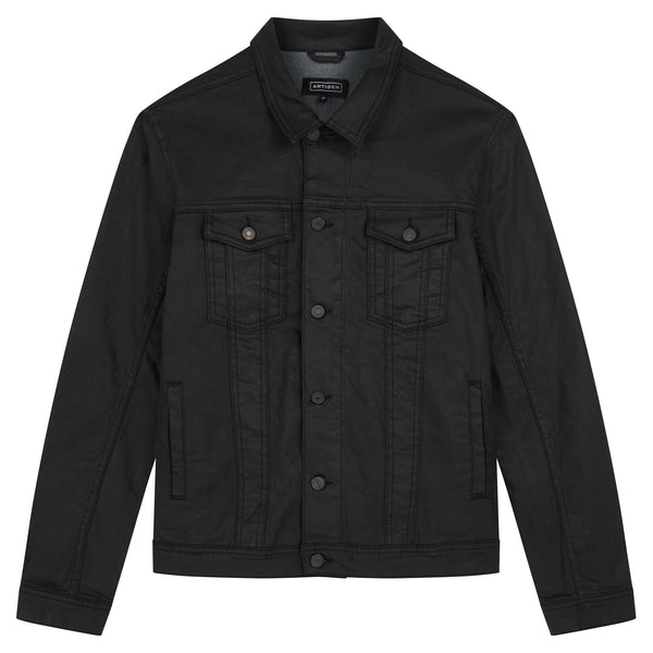 Coated Denim Jacket - Black