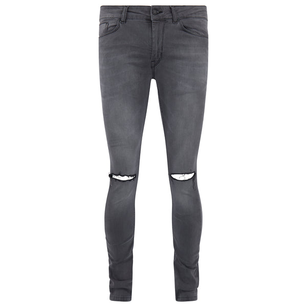 Ripped Spray on Skinny Jeans - Grey