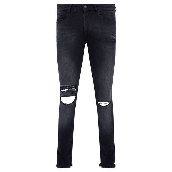 Washed Distressed Spray on Skinny Jean - Black