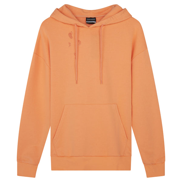 Oversized Drop Shoulder Pullover Hoody with Distressing - Coral