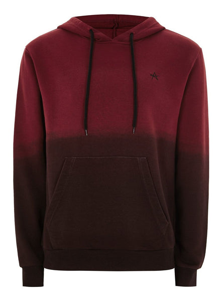 ANTIOCH BLACK AND BURGUNDY DIP DYE HOODIE