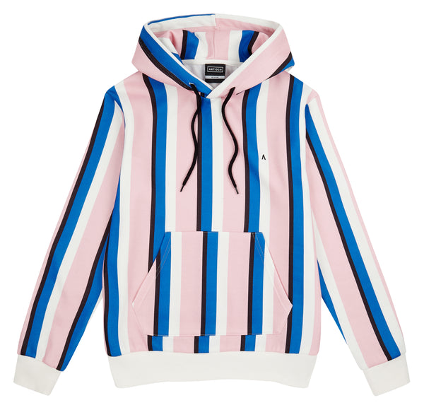 COLLEGE STRIPE HOODED SWEATSHIRT