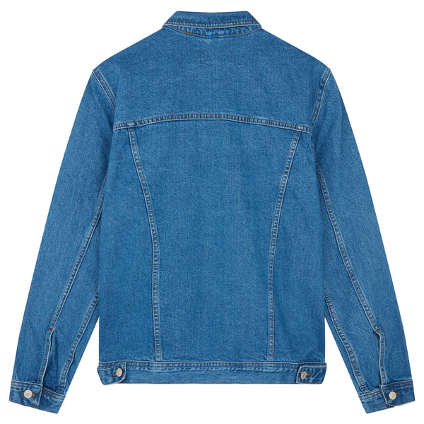 Light Wash Indigo Western Jacket with Embroidery Collar