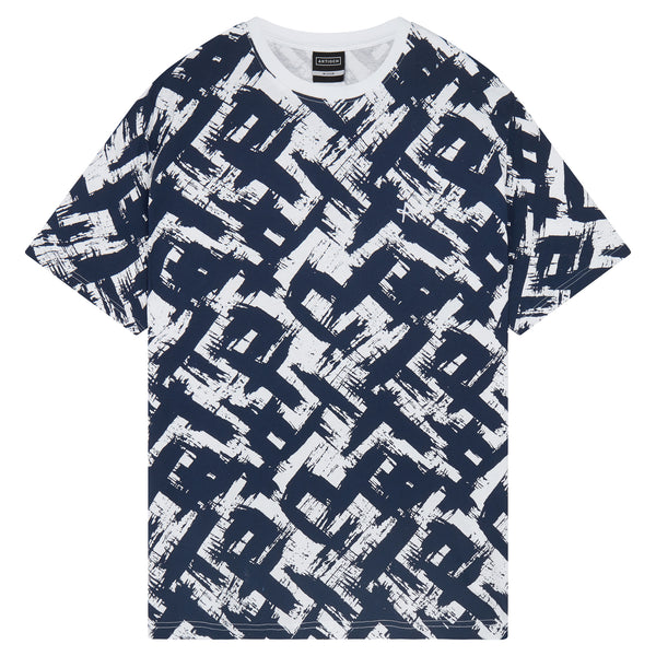 All Over Print T-Shirt - White/Black